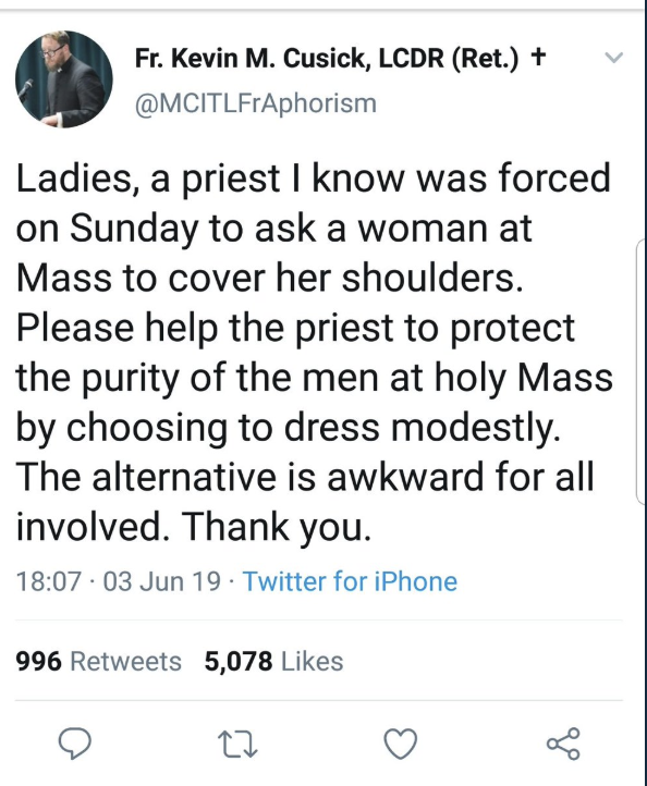 Tweet by Catholic priest