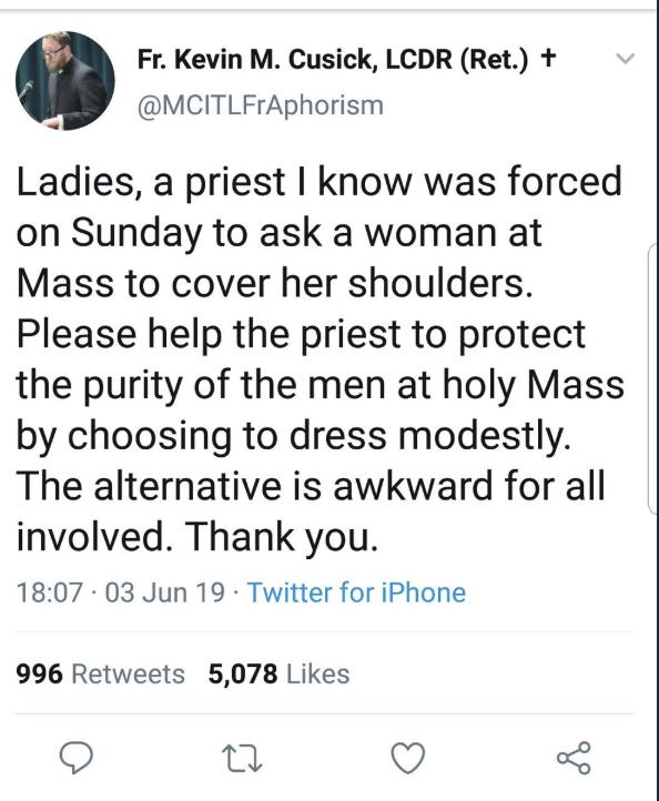 Tweet by Catholic priest