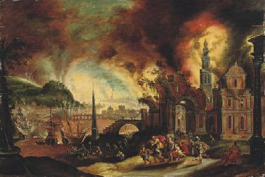 Troy on fire, painting By Daniel van Heil